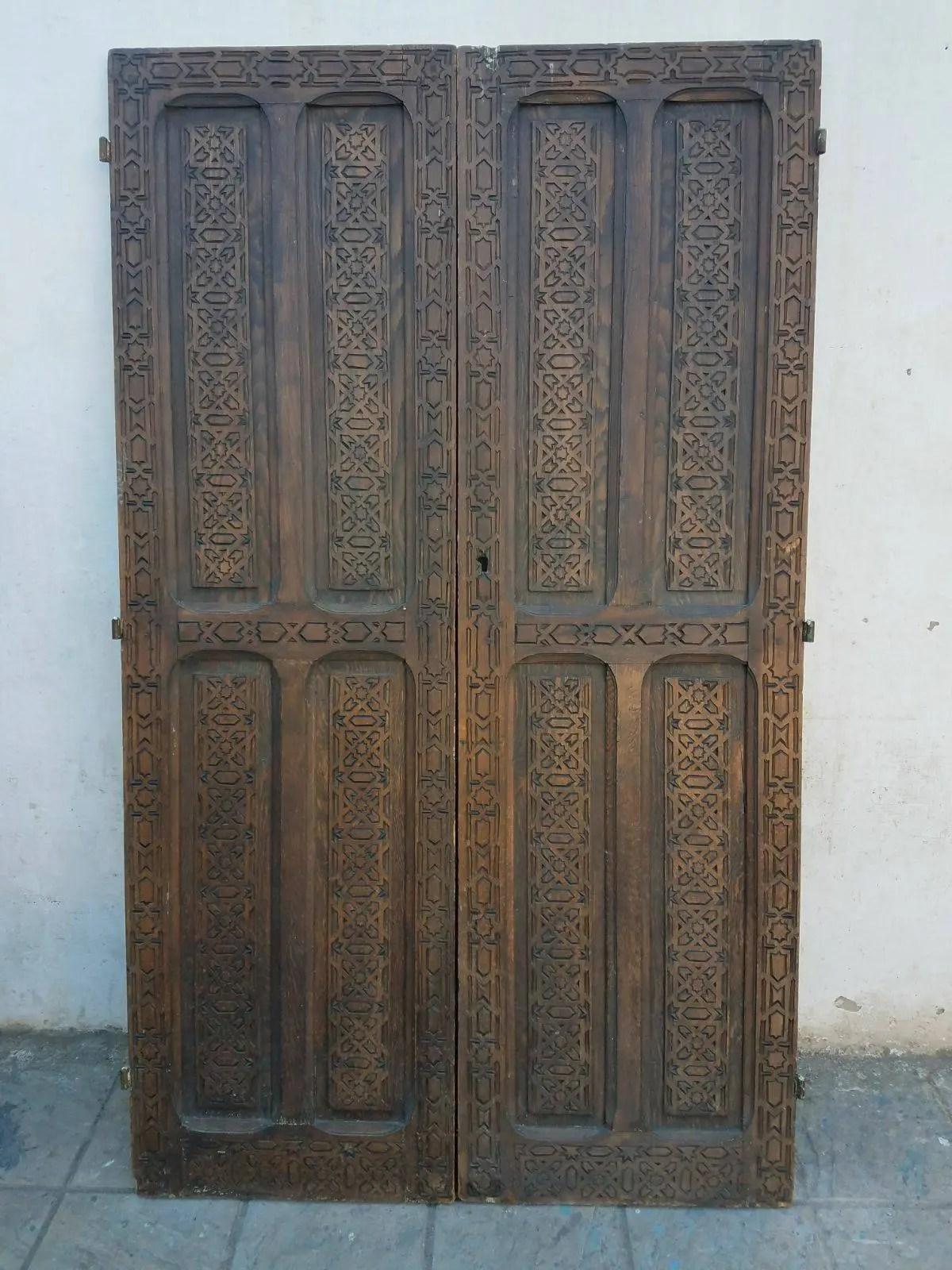 Antique Moroccan Door Berber Cedar Carved Wooden Door 61 Ft