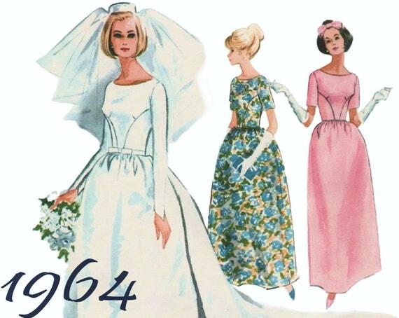Vintage Wedding Dress Detachable Train McCALLS 7572 Sz 12 B 32