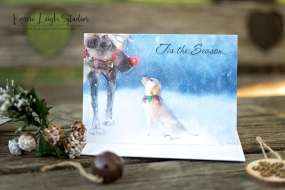 yellow lab puppy with rudolf the red-nosed reindeer christmas card