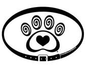 DECAL - Heart & Swirl Paw...