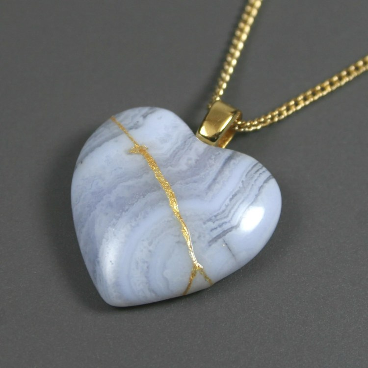 Broken heart pendant in blue lace agate with gold kintsugi (kintsukuroi) repair on gold plated curb chain - OOAK