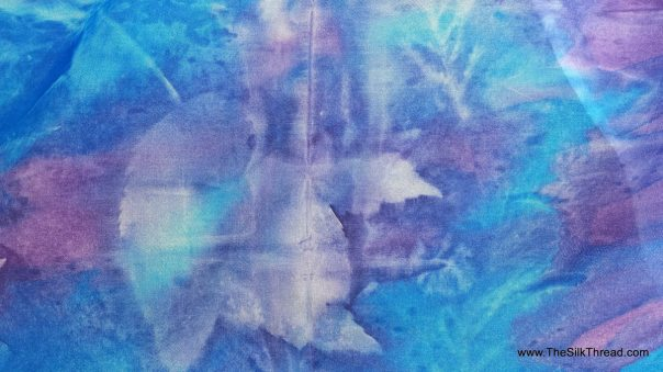 "Blue Silk Scarf, Designs & Colors from Mother Nature's Plants and Leaves, Original Sustainable art,Beautiful Ecodye Art by Artist. 8"" x 54"""