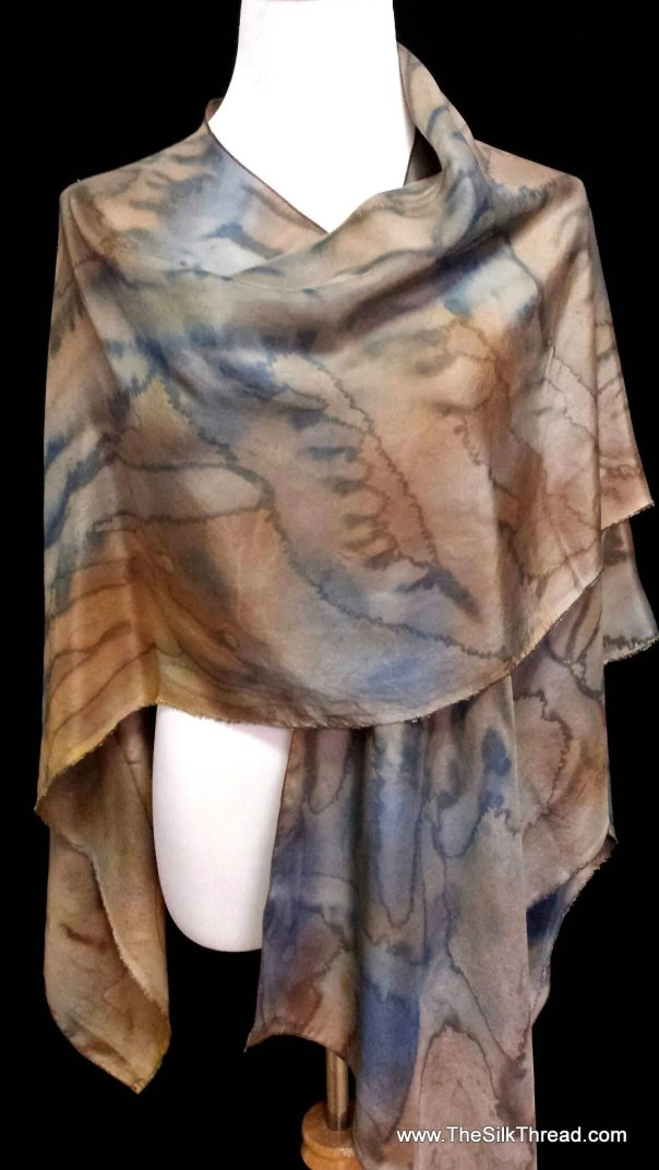 Silk Wrap, Cape, Shawl, Blue and Brown Abstract Design by Artist, Handcrafted with love, Silky Comfort Fits Everyone, FREE Ship USA OOAK