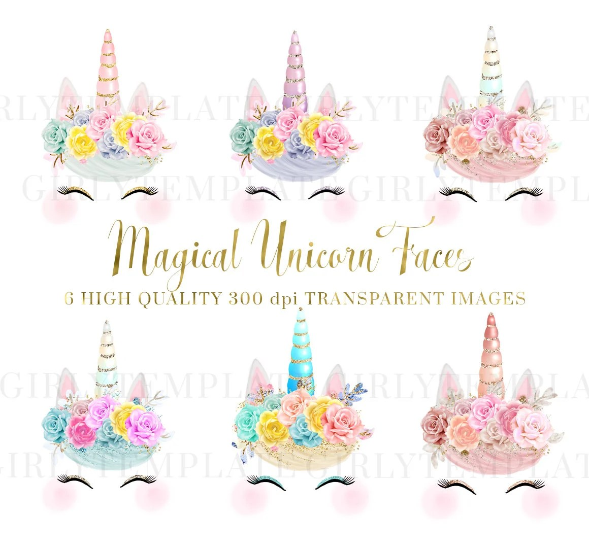 Unicorn Faces Glitter Clipart Unicorn Printable Baby Shower Kids Party Clipart Flowers