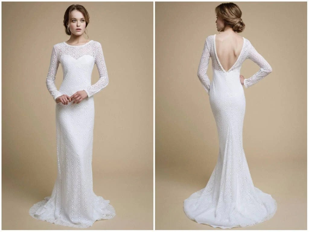 UMELIA / Mermaid Wedding Dress Long Sleeve Wedding Dress
