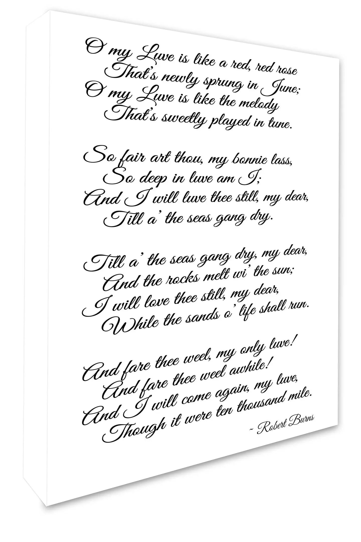 A Red Red Rose Poem By Robert Burns Printable Poster Instant