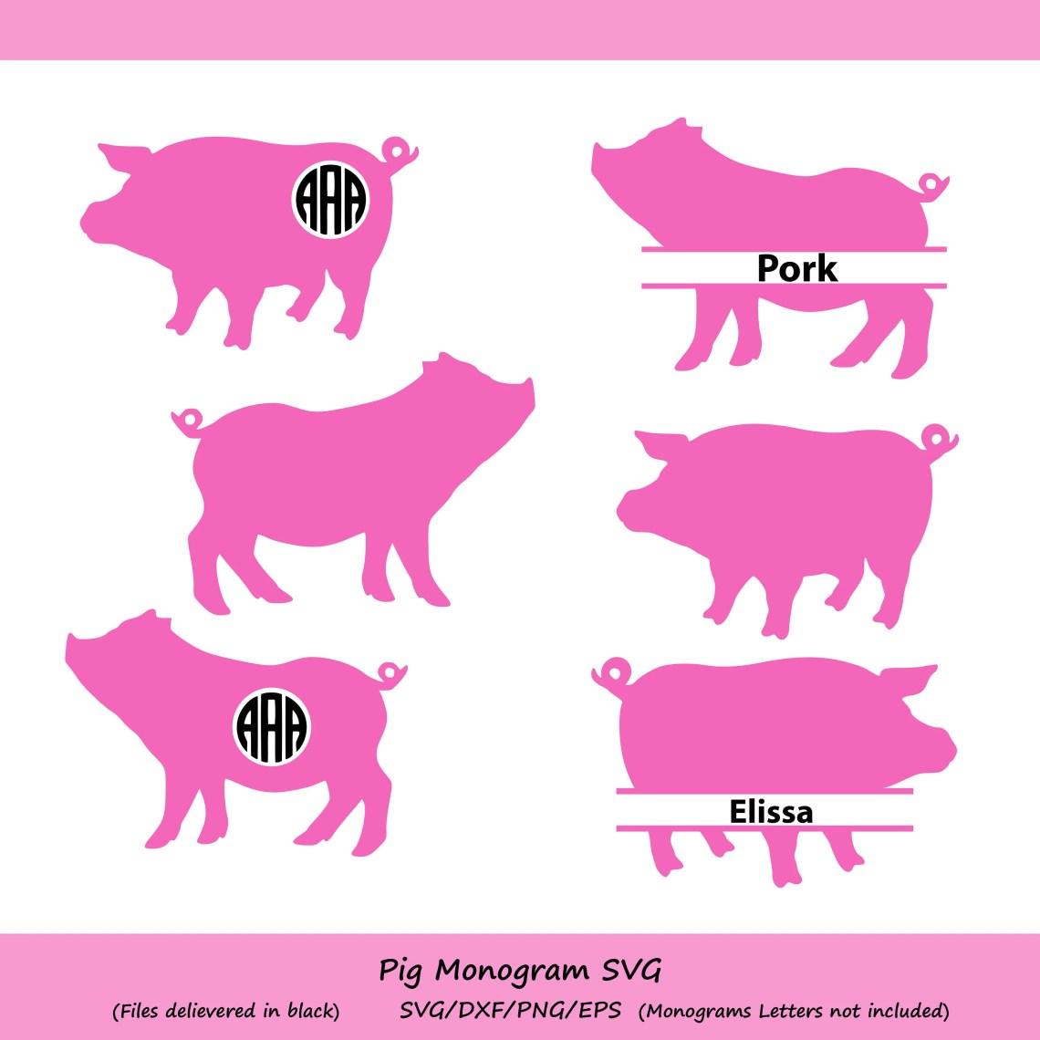 Download Pig SVG cut file pig monogram svg silhouette files Cricut