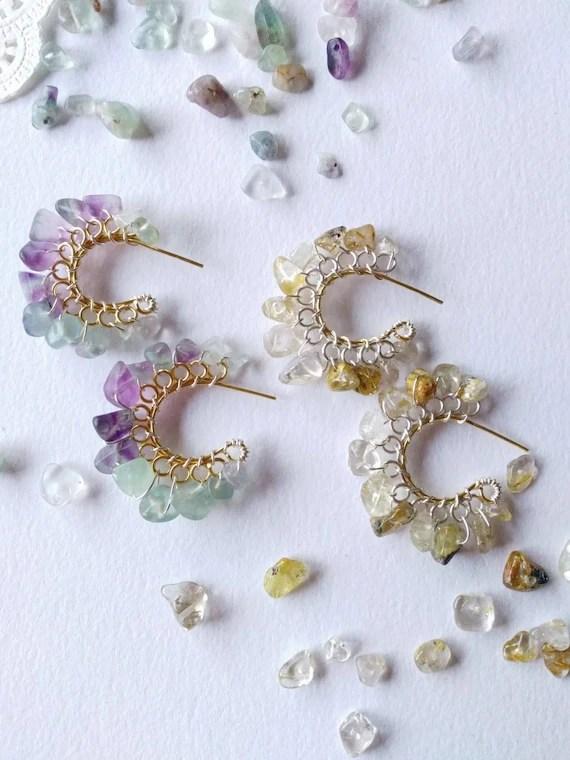Semiprecious gemstone chip hoops