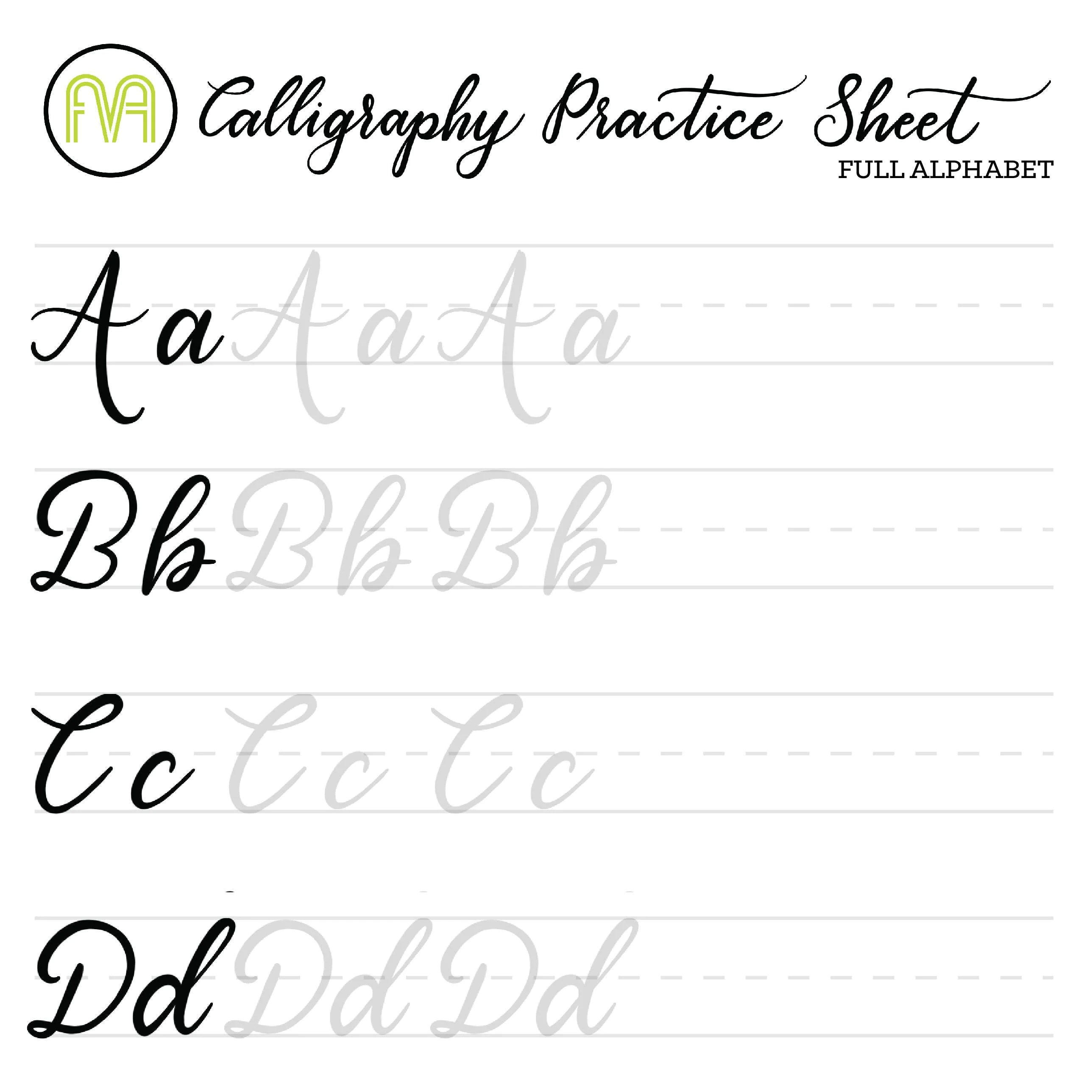 Universal Calligraphy Practice Sheets Printable