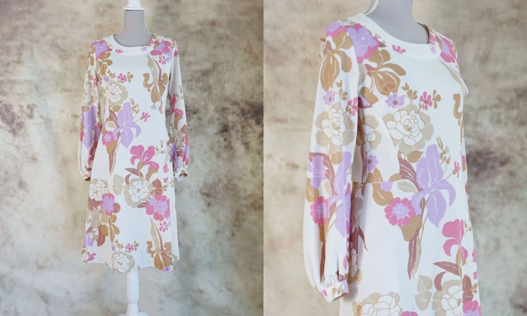 70s Floral Dress, Mod Dre...