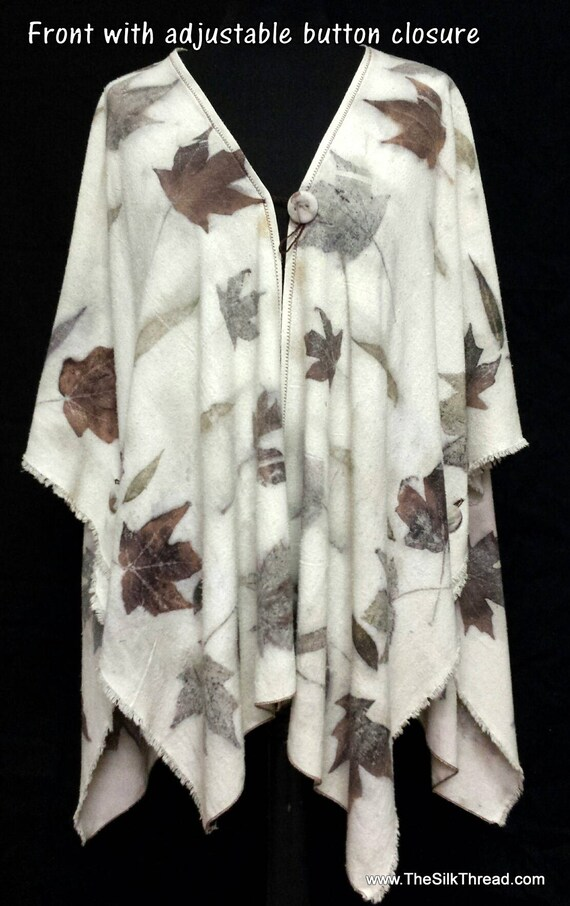Ecoprinted Silk Shawl, Wrap, Tunic, Hand Crafted by Artist, Soft Silk Noil, Flattering Fit for All Sizes, Design from Nature, Free US ship
