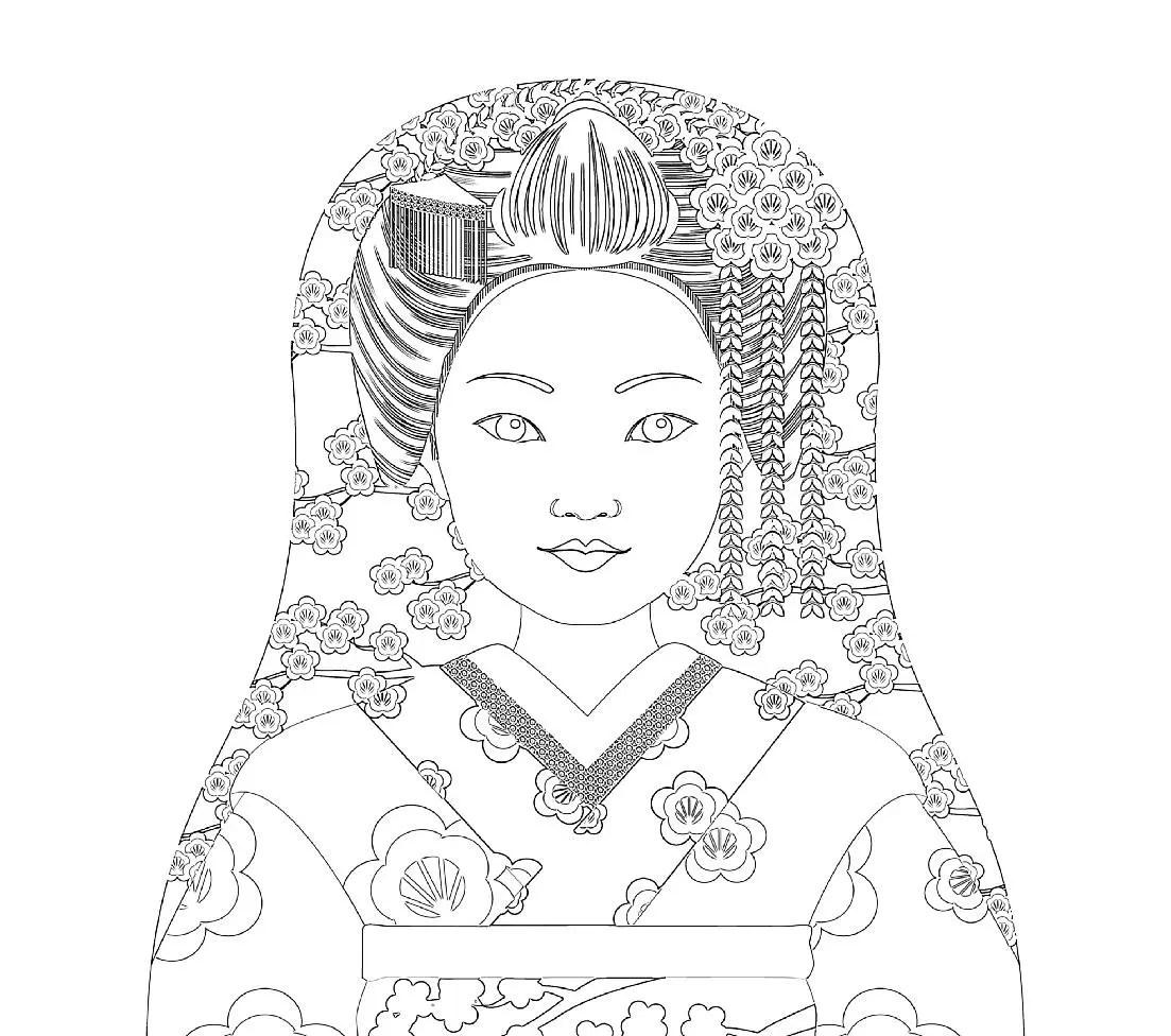 Japanese Geisha Matryoshka Coloring Sheet Printable File