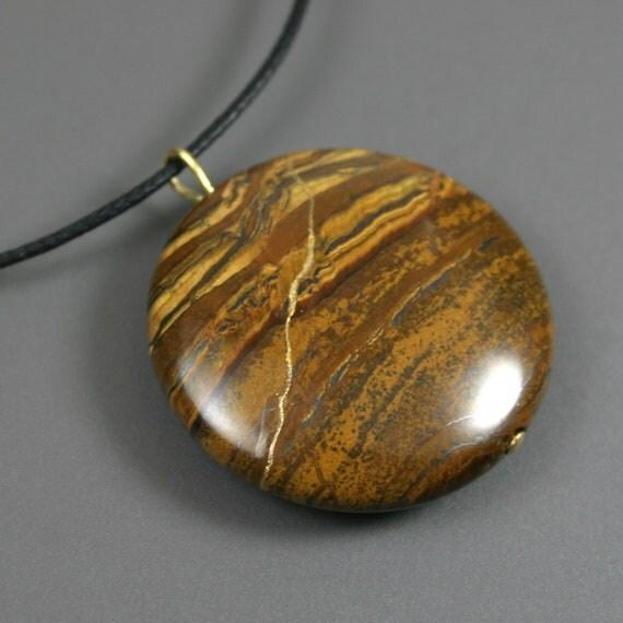 Kintsugi (kintsukuroi) tiger iron round stone pendant with gold repair on black cotton cord - OOAK