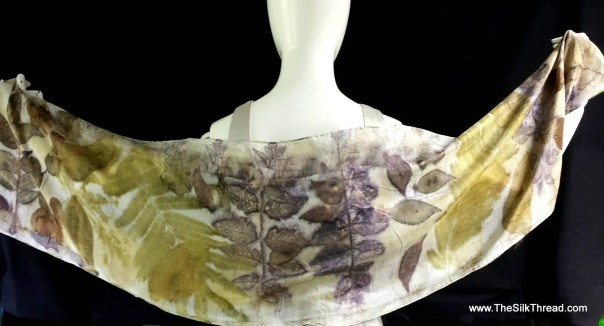 """EcoPrinted Silk Shawl, Silk Scarf, Wrap, Natural Colors of Leaves,totally Organic Art,Off White, Bronze, Green colors, By Artist, 14"""" x 72""""c"""