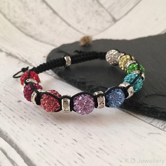 Rainbow, Crystal Macramé Bracelet