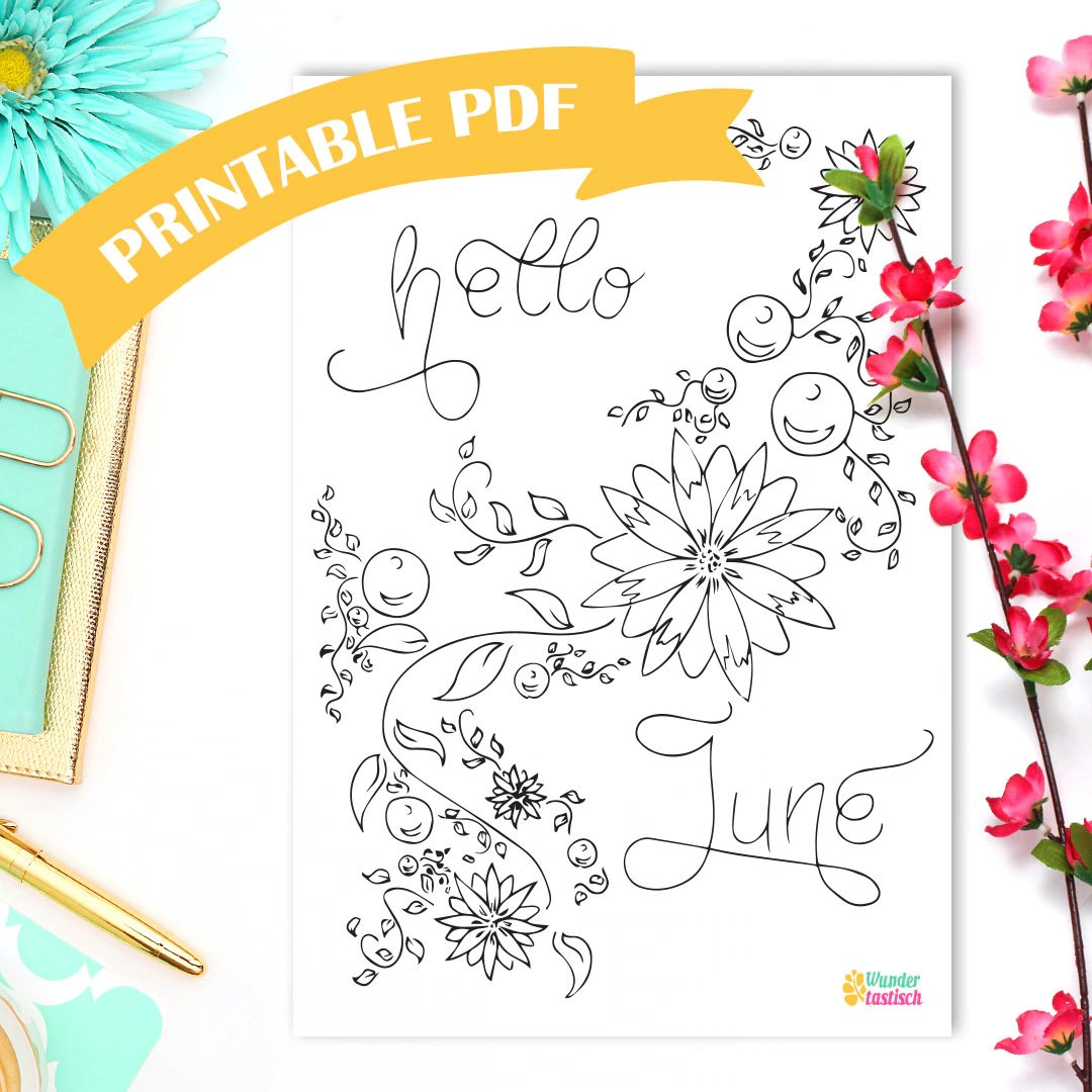 Printable Coloring Page Hello June Monthly Bullet Journal