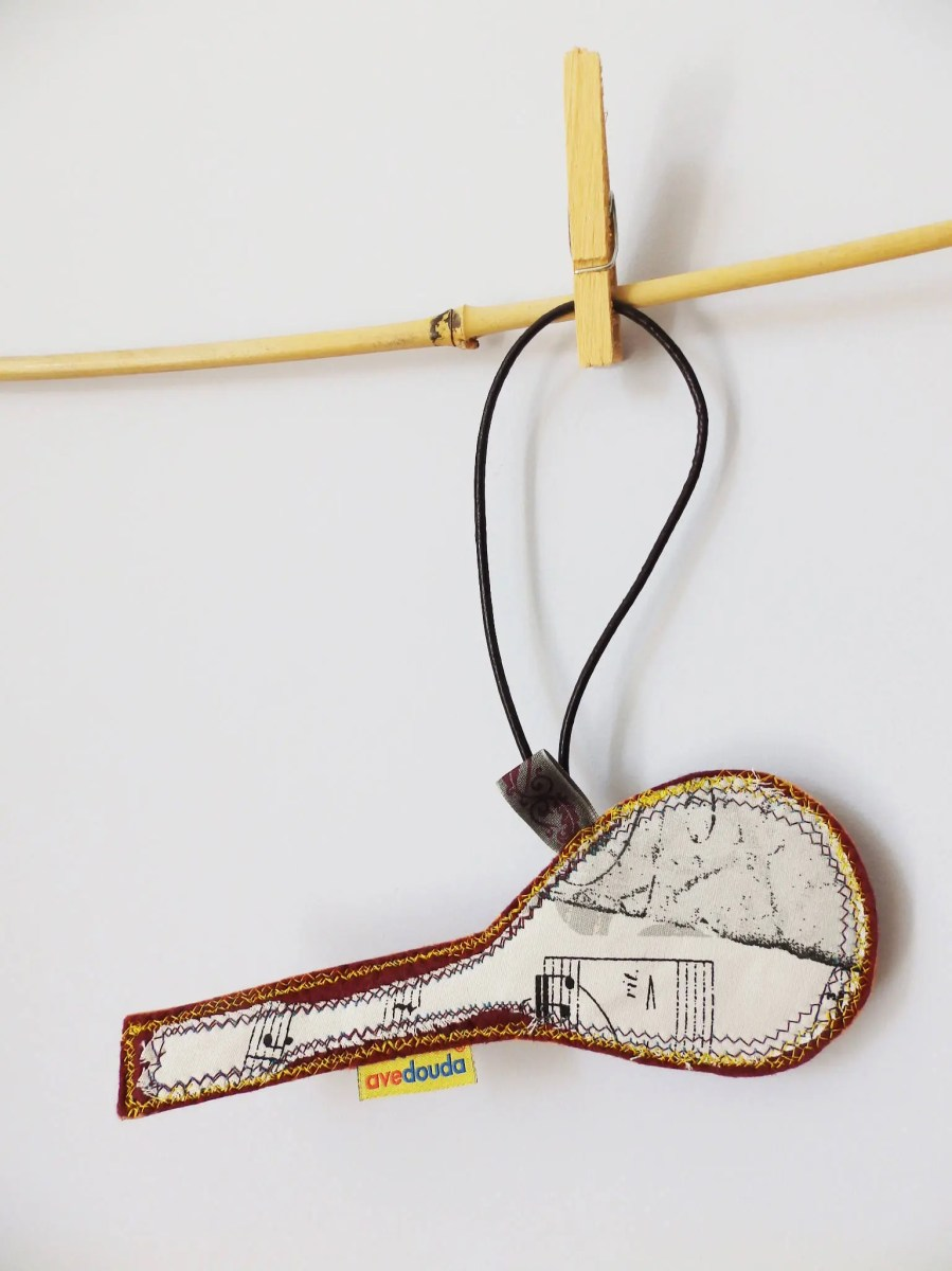 Travel tag for a musician, with a tag in mandolin shaped READY TO SHIP