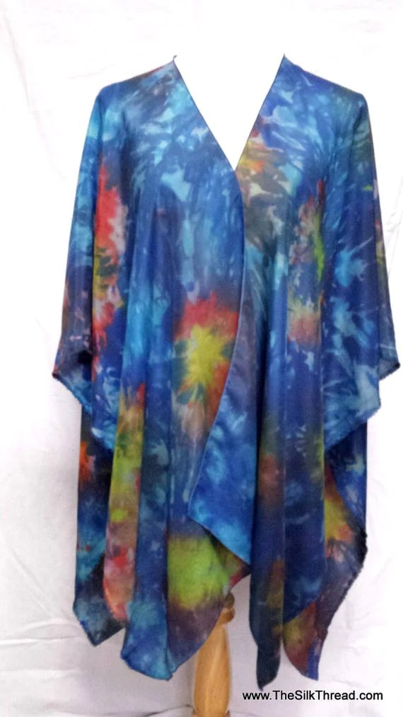 Lustrous Silk Shawl, Cape, Wrap,Abstract Design by Artist, Hand dyed in splashes of blue purple green & yellow, Fits Everyone, FREE Ship USA