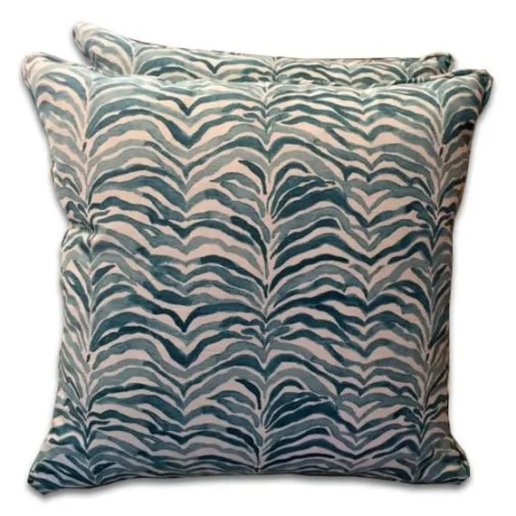 Mineral blue and ivory Zebra fabric- Custom Decorative Designer Pillow Cover in  aqua blue and ivory animal design pillow 20 x20  Lumbar