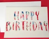 Watercolor text birthday ...