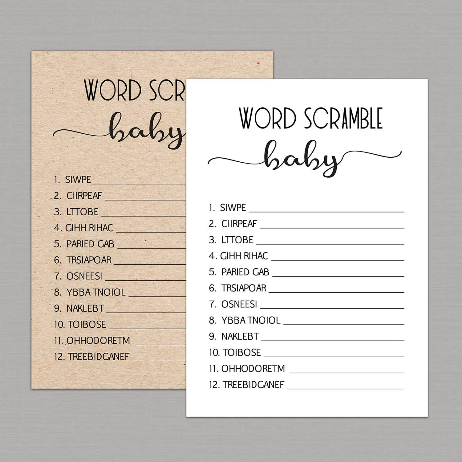 Baby Word Scramble Game Word Scramble Baby Shower Game Baby
