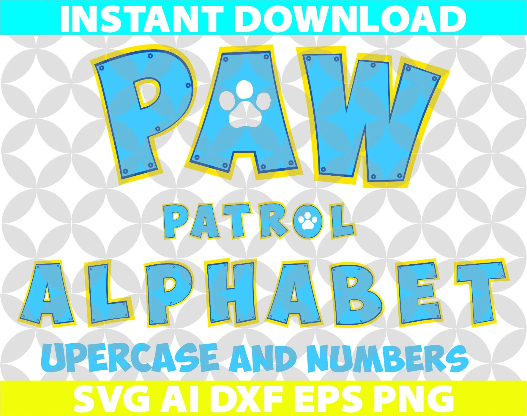 Paw Patrol Color Letters Alphabet Svg Ai Eps Dxf Cut