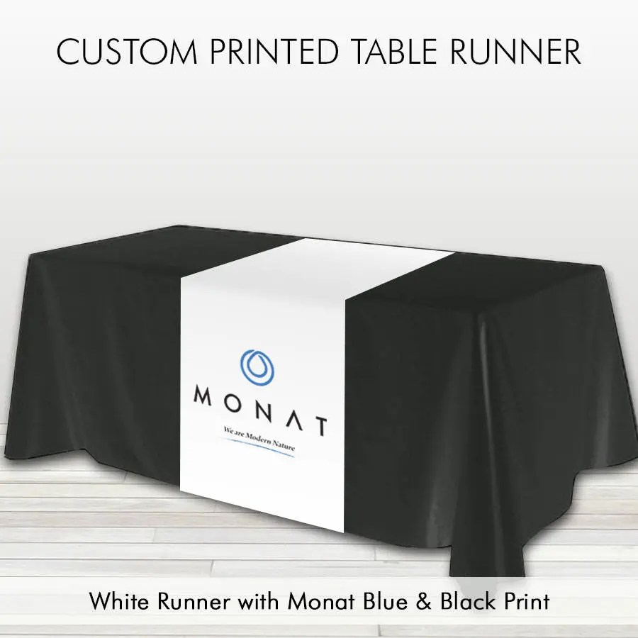 Monat Table Runner We Are Modern Nature White With Blue