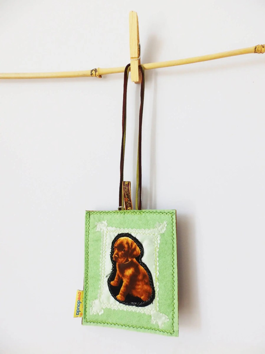Pet luggage tag, with a sweet puppy in a frame READY TO SHIP, ideal for a traveler and dog lover