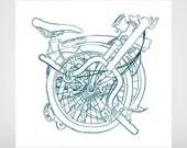 Brompton bicycle brush pen drawing, screenprint turqoise line.