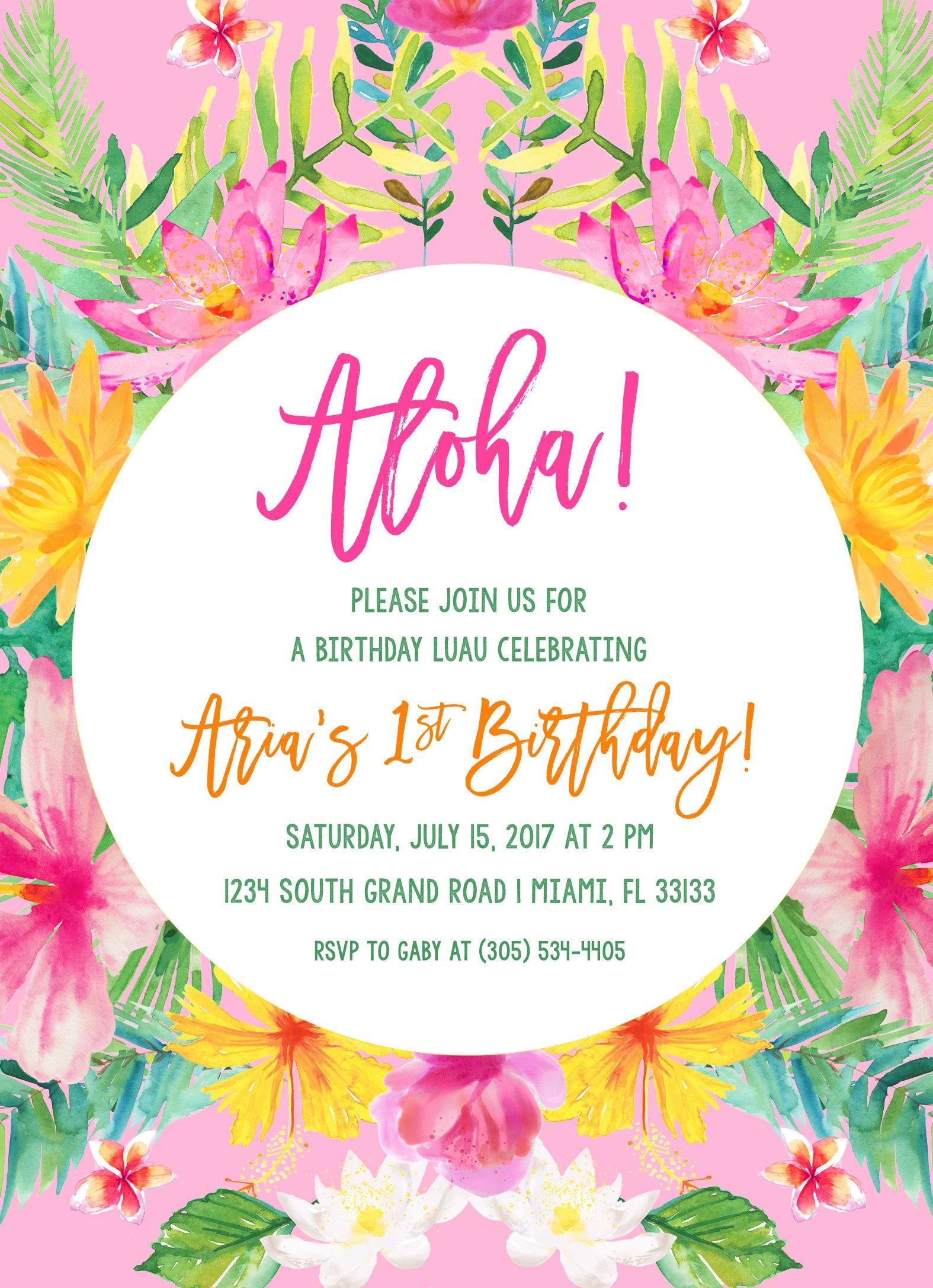 Tropical Birthday Invitation Luau Birthday Invitation