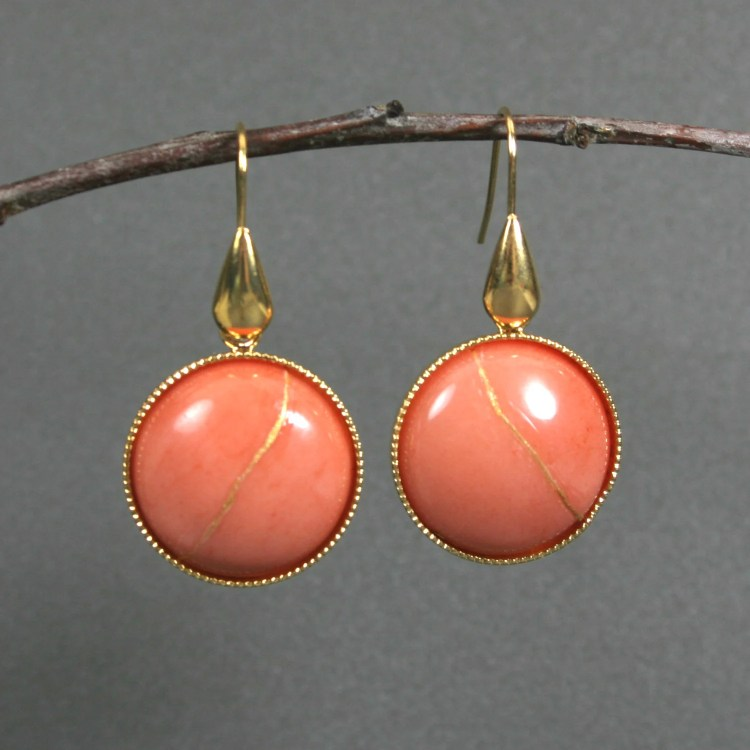 Kintsugi (kintsukuroi) coral dolomite dangle earrings with gold repair in a gold plated setting with gold plated teardrop ear wires - OOAK