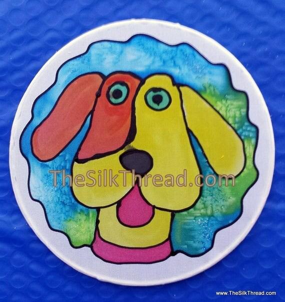 "Dog Suncatcher, Goofy pet,Whimsical, Hand Painted, 6"" Diameter Sun Catcher, Stained Glass Look, Dog Art, Wall Decor by artist, Free Ship USA"