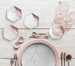 Hexagon Marble Rose Gold Coaster Set of 4