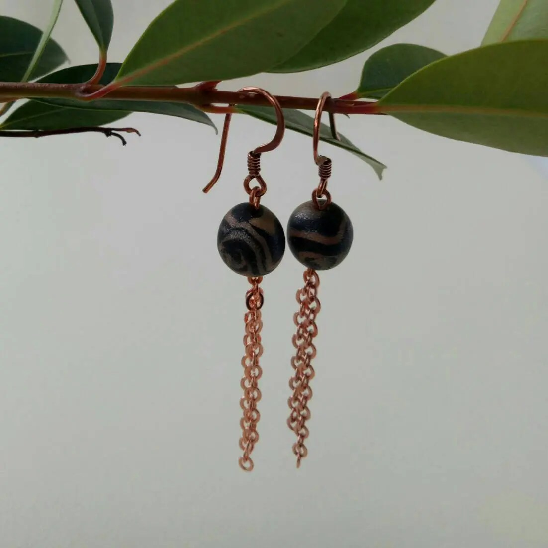 Dangle earrings, black and copper marble ball with copper plated chain, elegant drop earrings 1pc 99.99% Pure Copper Metal Safe Using Sheet Plate 0.8mm100mm100mm 1pc 99.99% Pure Copper Metal Safe Using Sheet Plate 0.8mm100mm100mm il 570xN