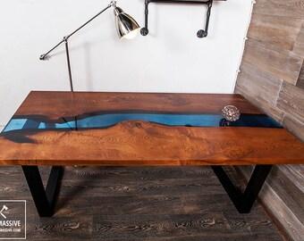 Table Noyer Rsine Poxy Bois Table Table De Rivire En