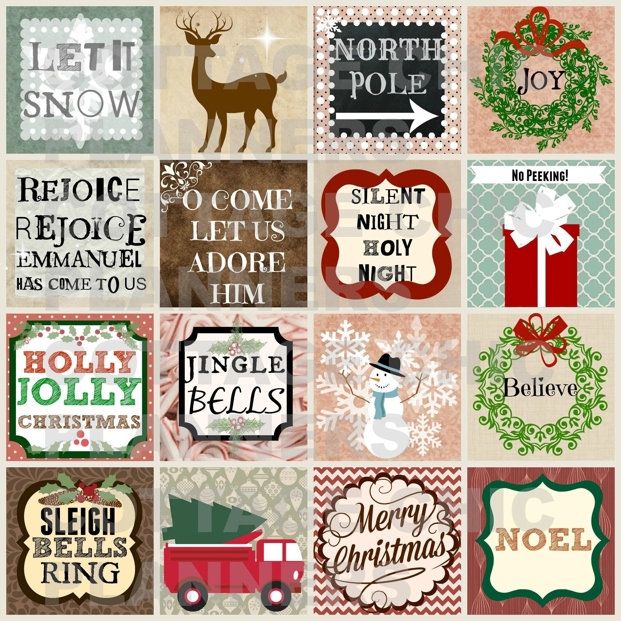 Woodland Christmas Printable Squares Christmas Art Journal