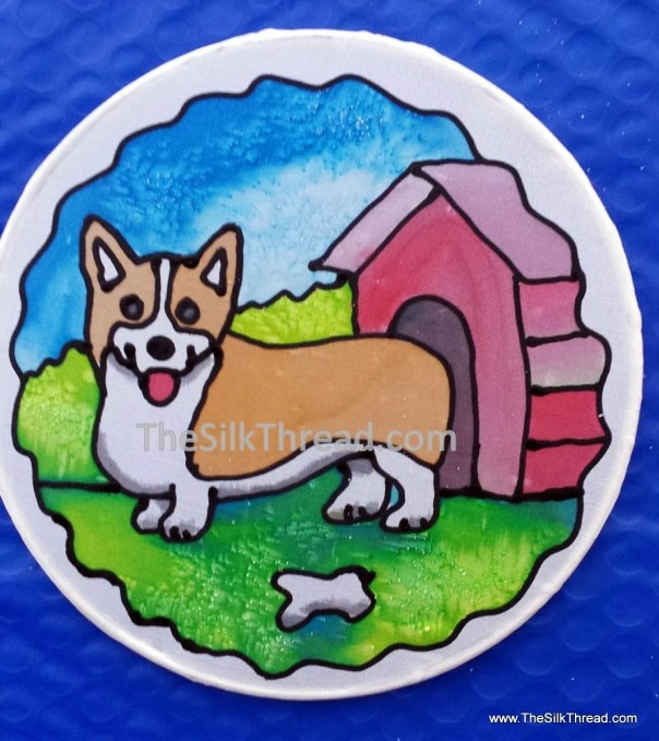 "Corgi Silk Suncatcher, Whimsical Pembroke Hand Painted, 6"" Diameter Sun Catcher, Stained Glass Look, Dog Art, Wall Decor by artist"