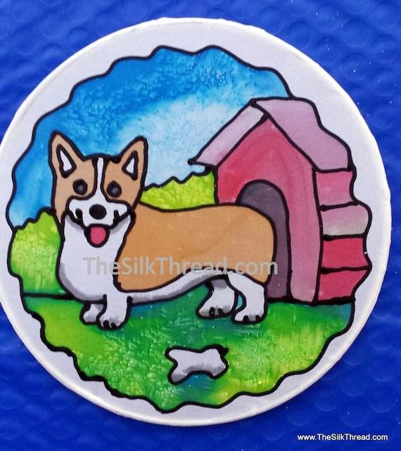 "Corgi Silk Suncatcher, Whimsical Pembroke Hand Painted, 6"" Diameter Sun Catcher, Stained Glass Look, Dog Art, Wall Decor by artist"