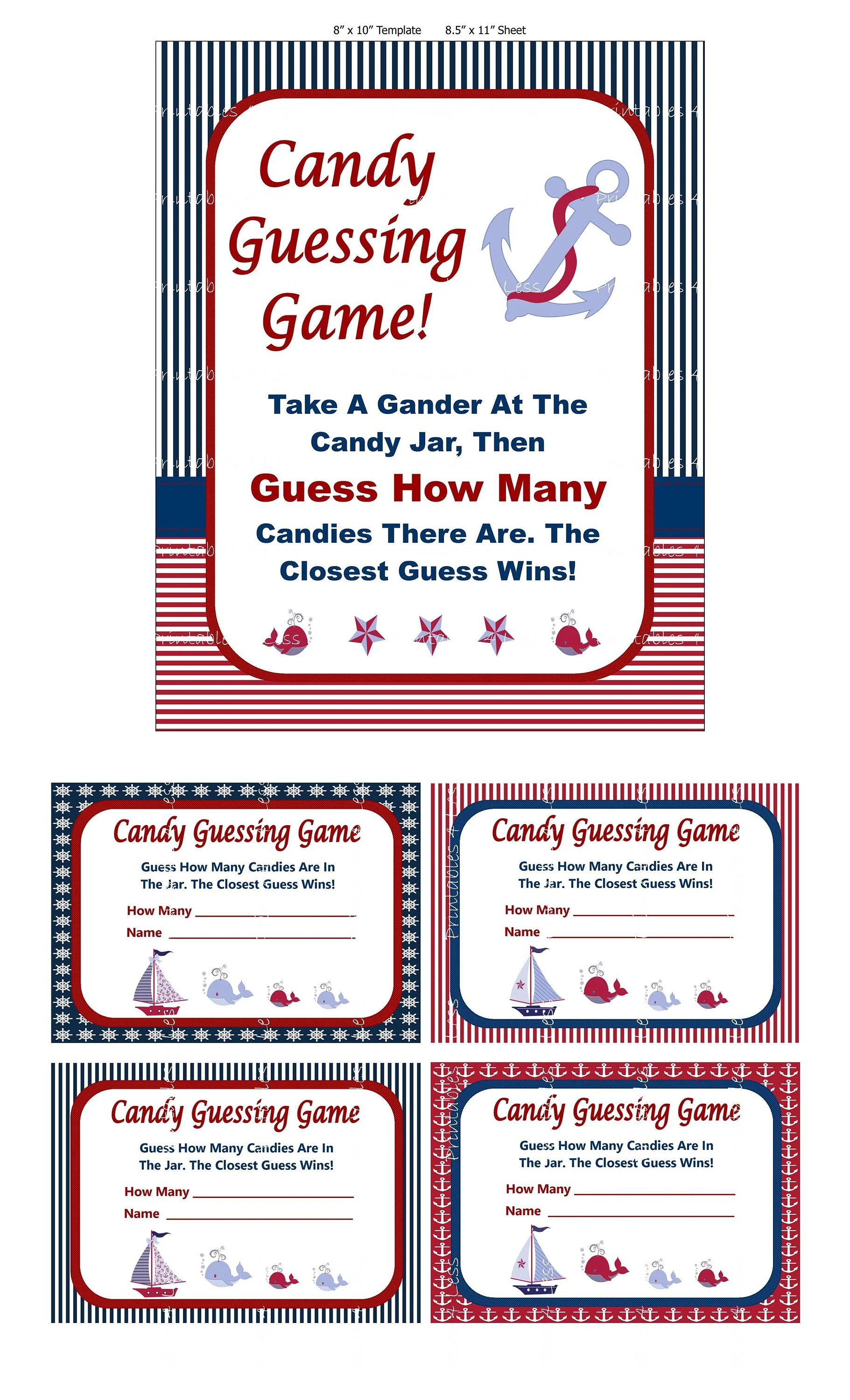 Nautical Candy Guessing Game Printable Baby Shower Candy