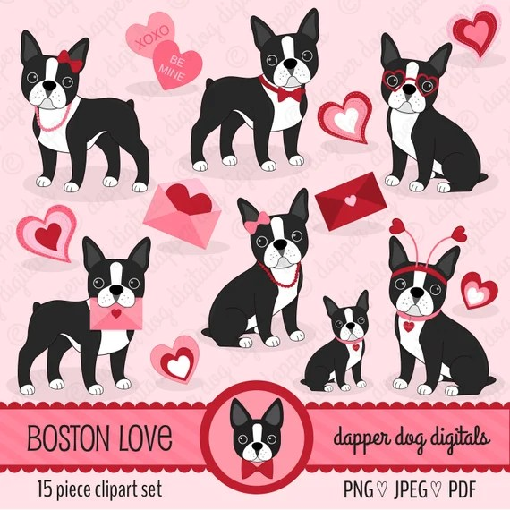 Download Boston Terrier Valentine Clipart Set Commercial Use Vector