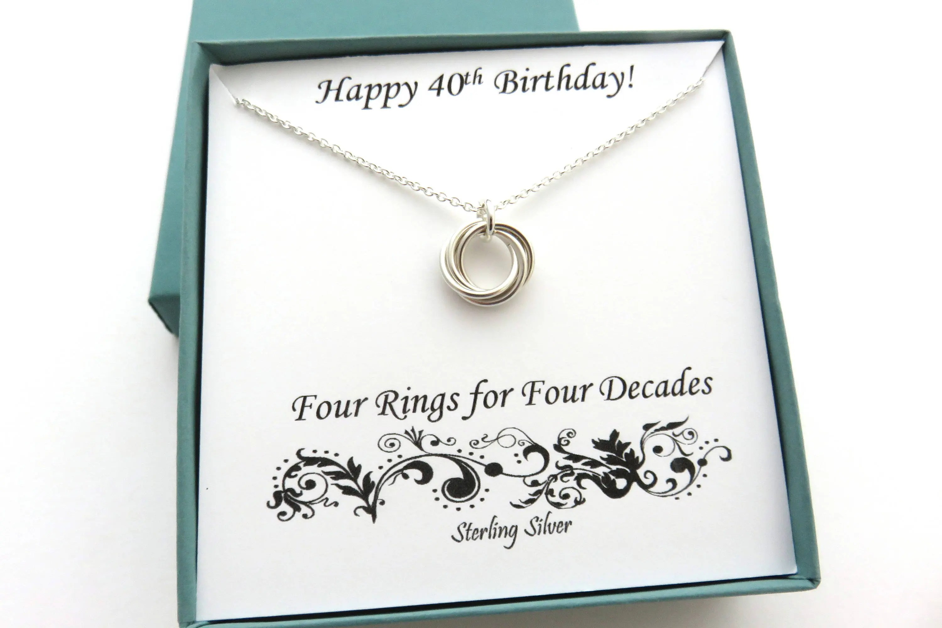 40th Birthday Gifts For Women Sterling Silver Necklace 40th
