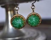 Vintage Floral Jade Glass Crown Setting Earrings - Vintage Assemblage
