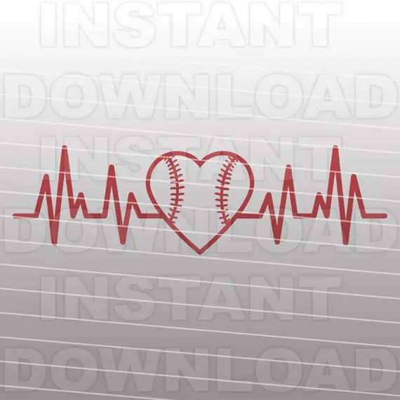 Download Baseball Heartbeat SVG FileBaseball Heart SVGCut FileVector