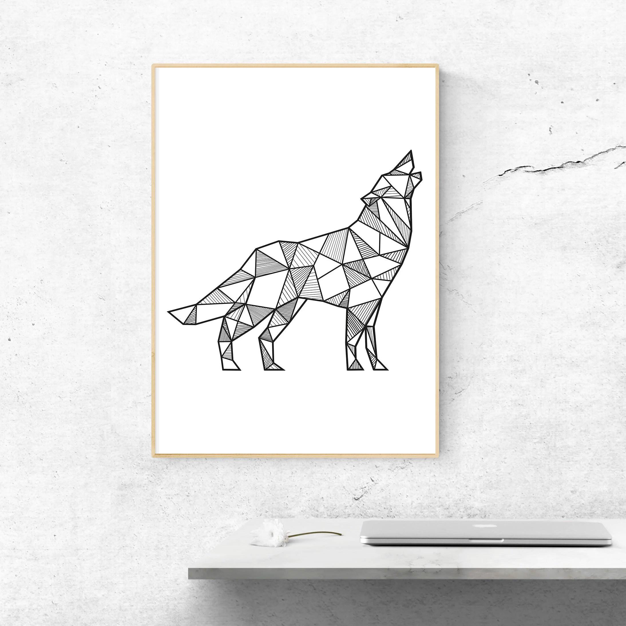 Wolf Wall Art Geometric Wolf Print Wolf Wall Decor Boho