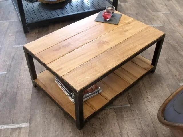 Table Basse Industrielle Bois Et Mtal