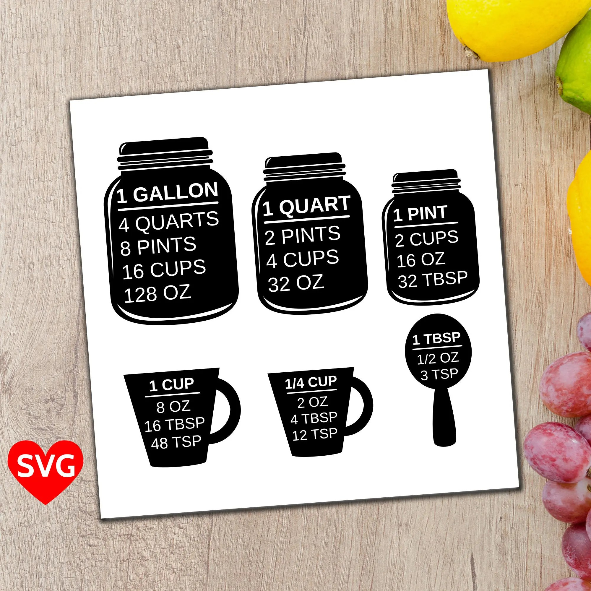 Measuring Cups Svg File A Printable Kitchen Conversion Chart Cheat Sheet To Easily Convert