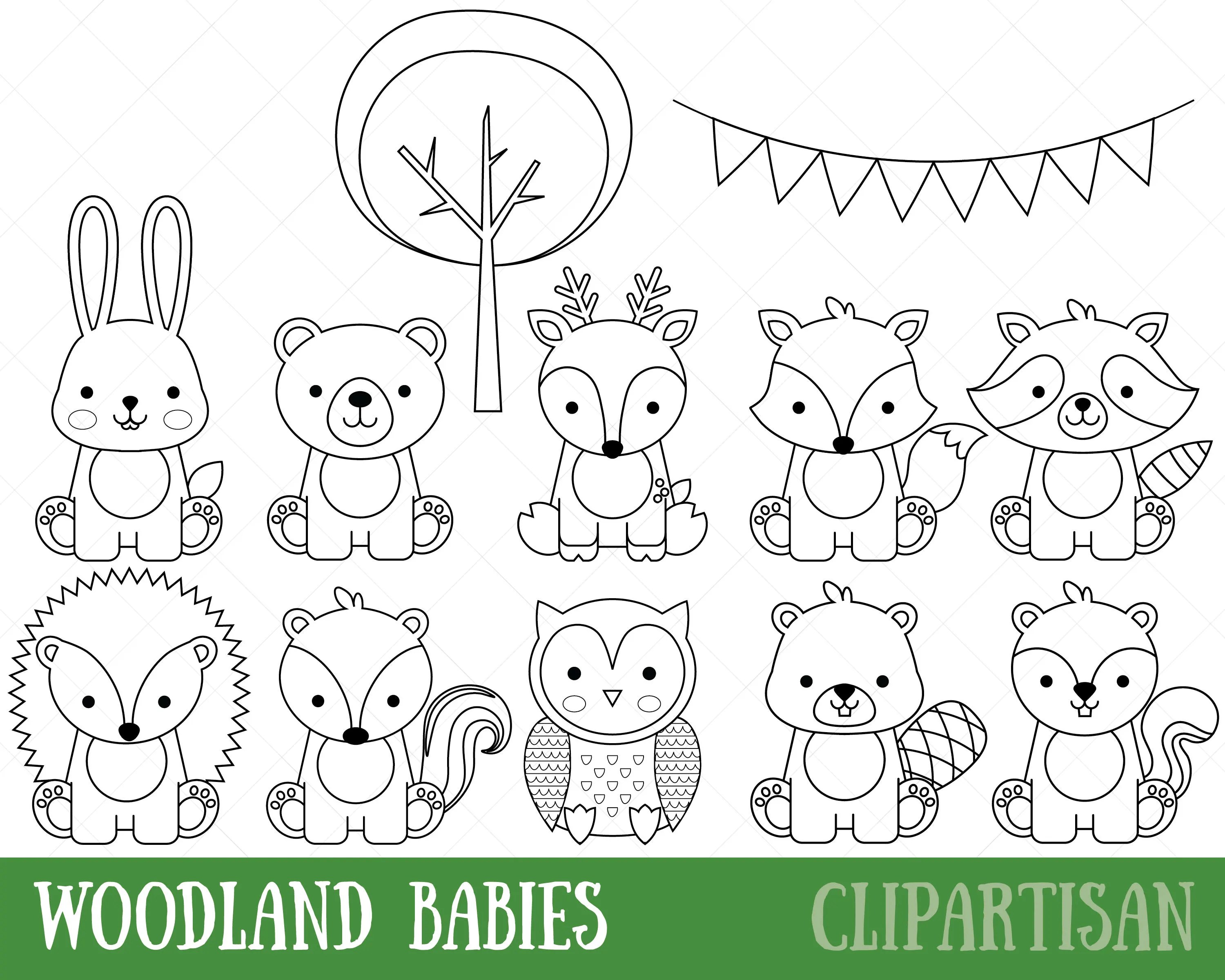 Awesome Baby Woodland Animal Coloring Pages