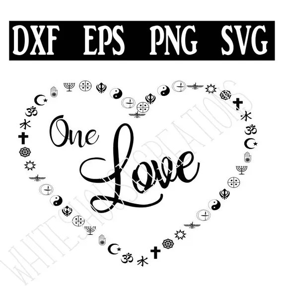 Download One Love in multi-religious symbols coexist SVG dxf eps