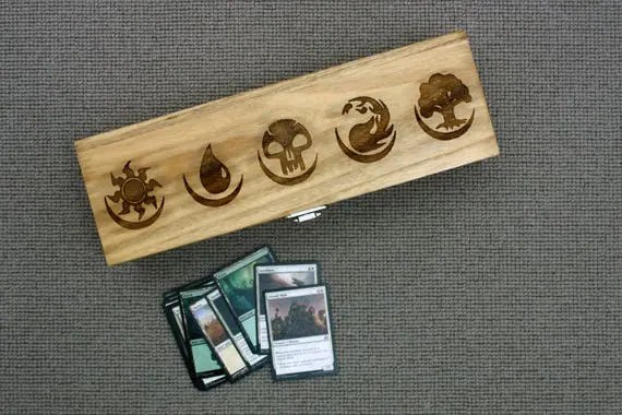 Wooden Deck Box - Mana Symbols Laser Cut Box
