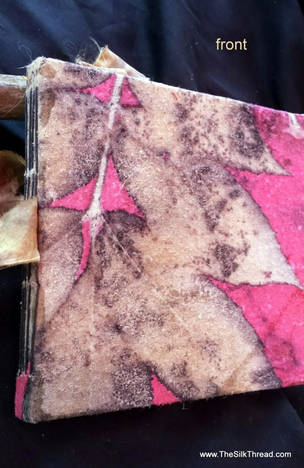 Red Handmade Silk Journal, EcoPrinted Book, Guest Book, Junk Journal,Wedding, Natural Colors of Leaves,Organic, Eco-printed Fabric,By Artist